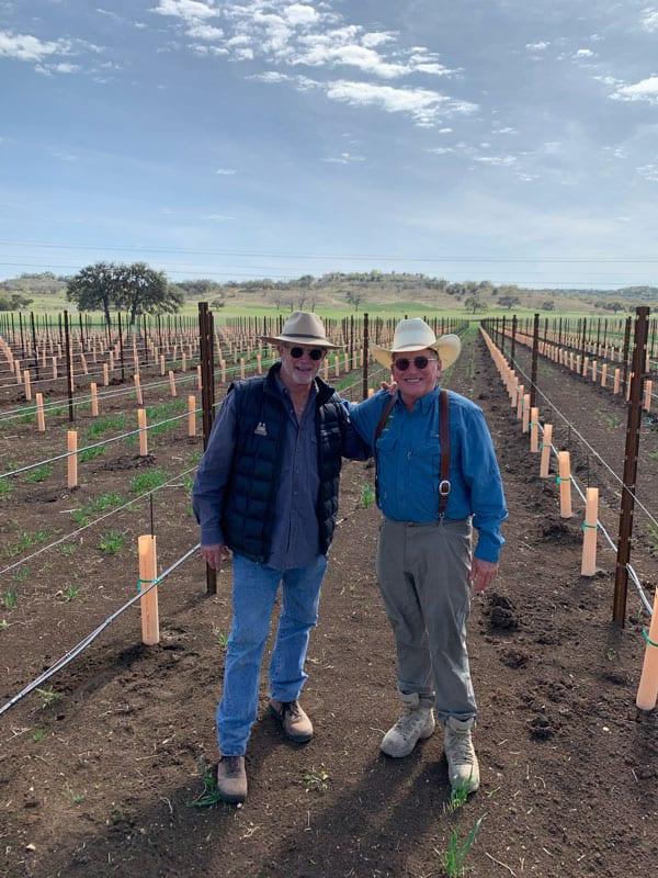 Bill Blackmon, vineyard specialist left and Dan Schulse, proprietor right shape the future at Turtle Creek Estate